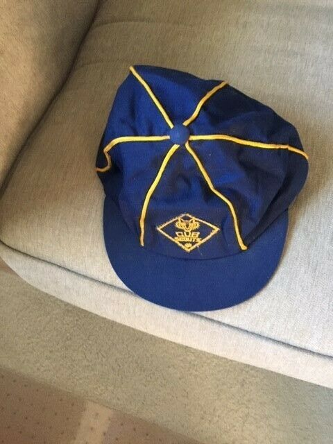 Vintage 1960s CUB SCOUTS BSA Blue Gold Uniform HAT Boy Scout Official Wolf Cap 7
