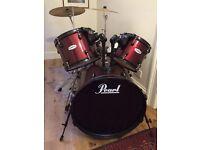 Pearl drum kit, red
