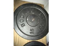 Cast Iron weights set and cast iron chrome barbell