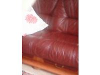 Geniune Burgundy Leather Sofa
