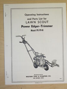 WESTERN TOOL LAWN SCOUT POWER EDGER-TRIMMER INSTRUTIONS, PARTS MANUAL