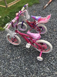 2 Princess Bikes with Doll Carrier