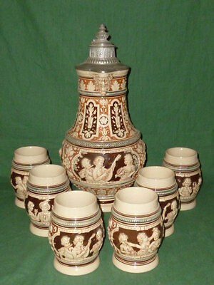 Antique large westerwald Jug Pitcher Beer Jug Wine jug Historicism + 6 Mug Set