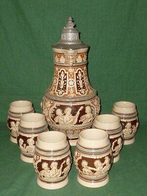 Antique large westerwald Jug Pitcher Beer Jug Wine jug Historicism + 6 Mug Set