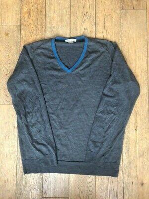John Smedley Mens Grey 100% Merino Wool Jumper, V neck with blue stripe, L