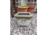 "STONE GARDEN PLANTER POT CARVED FLOWER ON ALL SIDES - 11"" SQUARE"