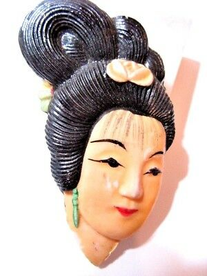 STYLE 2 LUCITE PLASTIC JAPANESE WOMAN LADY PIN HANDCRAFTED OOAK VINTAGE