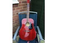 Nice red accoustic guitar