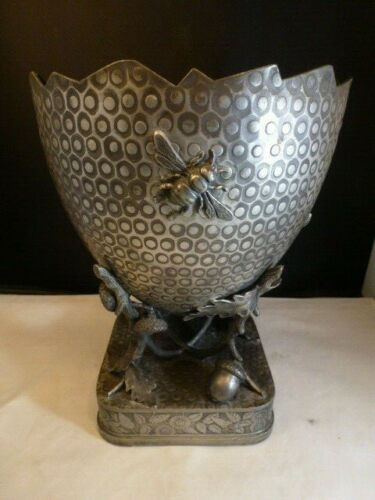 """Derby Silver Co  Victorian QUADROUPLE  large cracked egg lizard insects VASE 10"""""""