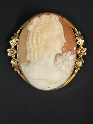 Vintage Gold Filled Carved Shell Cameo Pin Pendant