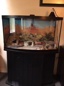45 gallon bowfront tank, with black cabinet stand.