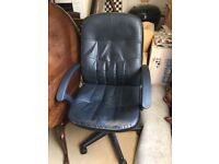 Black faux leather office desk chair