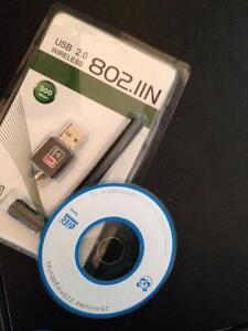 USB WiFi Wireless LAN Adapter w/ Antenna,for laptop or desktop. 300Mbps