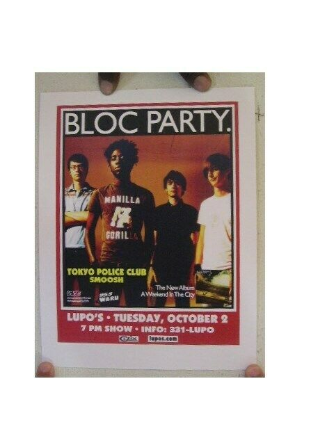 Bloc Party Poster  Tokyo Police Club Smoosh Lupos Concert Gig
