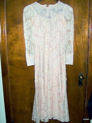 VTG 80s CACHET CROCHET/LACE MAXI/WEDDING Dress/GOWN/4 PEARL CUFFS/HIPPIE/5-6/S