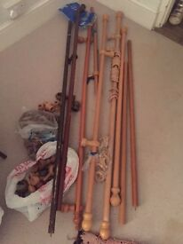 Job lot wooden curtain poles and rings and ends