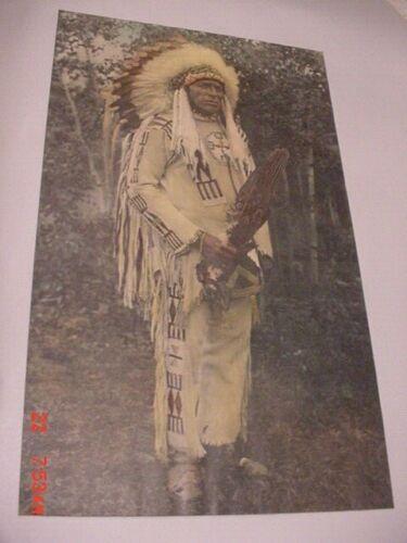 LARGE BEAUTIFUL TINTED PHOTO OF SHOSHONIE WAR CHIEF WASHAKIE 20 X 13