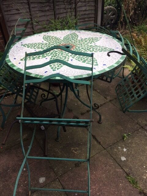 Ceramic Garden Table And 4 Metal Chairs