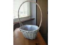 Beautiful flower girl wicker basket, wedding or home