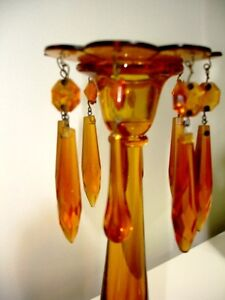 1940s AMBER GLASS Czechoslovakian ETCHED CANDLE HOLDERS LUSTRES Cambridge Kitchener Area image 4