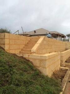 Limestone retaining walls & Bobcat services. Leonard Contracting. Butler Wanneroo Area Preview