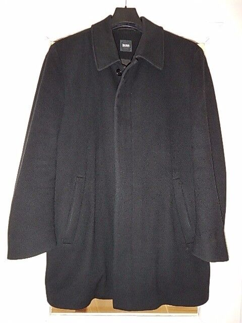 Men's Hugo Boss Super Soft Cashmere Mid Length Dress or Casual Coat in Black (Fit Size L /XL)