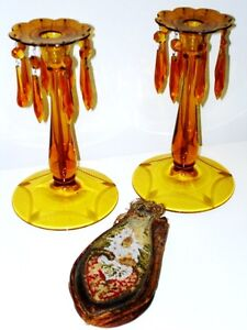 1940s AMBER GLASS Czechoslovakian ETCHED CANDLE HOLDERS LUSTRES Cambridge Kitchener Area image 5