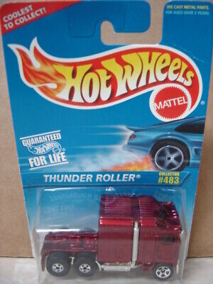 1996 HOT WHEELS  #483  THUNDER ROLLER  Kenworth Red Cab Over Semi Truck