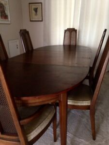 Dining room table and 6 chairs - all wood - good cond.