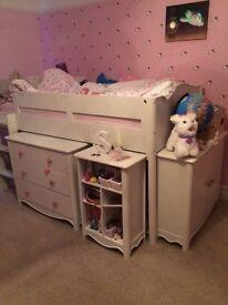 Next girls cabin bed set c/w wardrobe