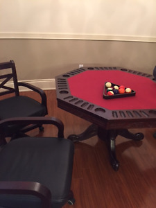 Card table and four leather chairs