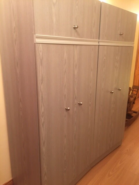 Grey wood effect bedroom suite, wardrobe, chest of drawer, blanket box