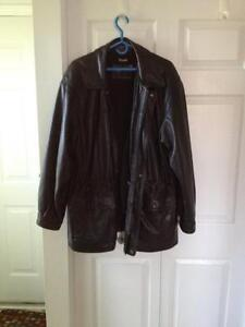 Leather jacket with lining