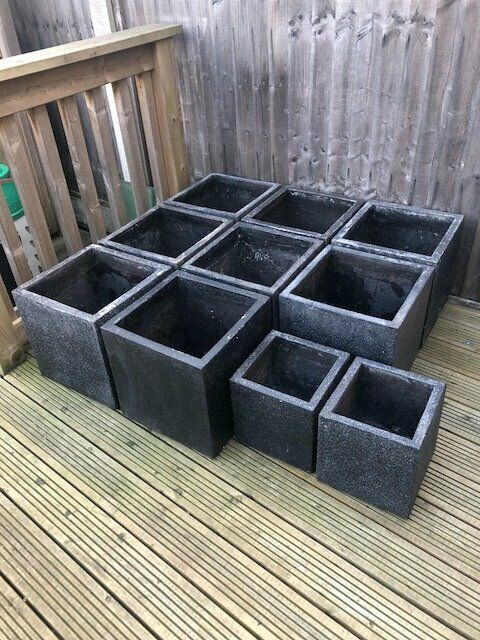 Black Dark Grey Cube Planters Homebase In Bournemouth Dorset Gumtree