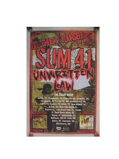 Sum 41 Poster  Unwritten Law