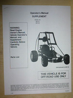 MANCO MODEL 285-191 285-192 GO KART PARTS LIST OPERATORS MANUAL CART