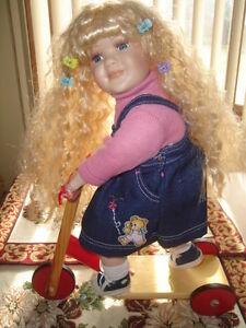"FIRST $50 ~ CUTE 15"" BLONDE HAIR PORCELAIN GIRL ON SKATE BOARD"