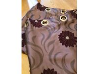 "Eyelet Curtains Fully Lined Blackout 86"" x 88"" Floral Mulberry Plum Fabric"