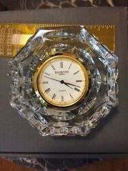 Waterford Crystal Gold Faced Desk Clock, Works, Perfect in Box!