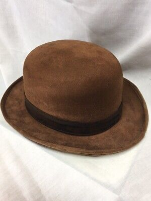 Brown Polyester Felt Look Derby Cosplay Steampunk Hat