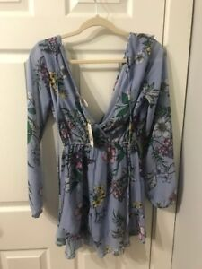 Ultra Girly and Feminine Blue Floral Romper -- S