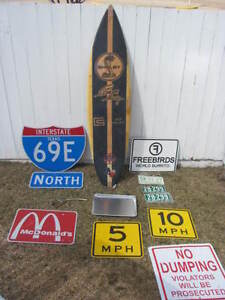 Carroll Shelby Surfboard/Texas I69 Sign/Brass Gas Pump/A&W Tray+
