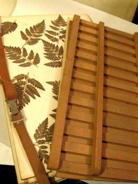 "Flower & Leaf Press Rack Wooden Craft with Straps 12 X 18"" w/ Ferns"