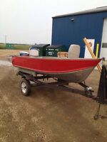 12' aluminum boat w/ trailer and motor