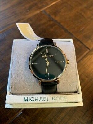 NWT Michael Kors MK7100 Womens White Dial Black Leather Watch NEW