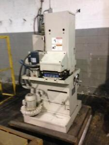 Timesaver 9 wide x 60 belt Compact metal wet deburring/finishing machine, Mod. 960-1MW, 220/440 volt 3 phase elec.