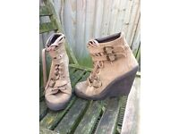 Topshop boho laced-up light brown suede boots with wedge heel, size 4 (EU 37)