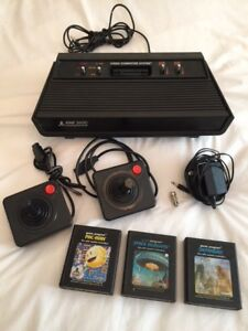 Vintage Black Atari 2600 Game Console Package 1982