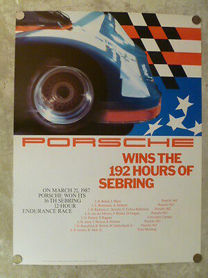 "1987 Porsche 962 ""192 Hrs of Sebring"" Showroom Advertising Poster RARE!! Awesome"
