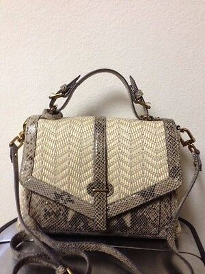 Tory Burch Handbag 797 Medium Natural Snake Satchel Tote New Authentic $575